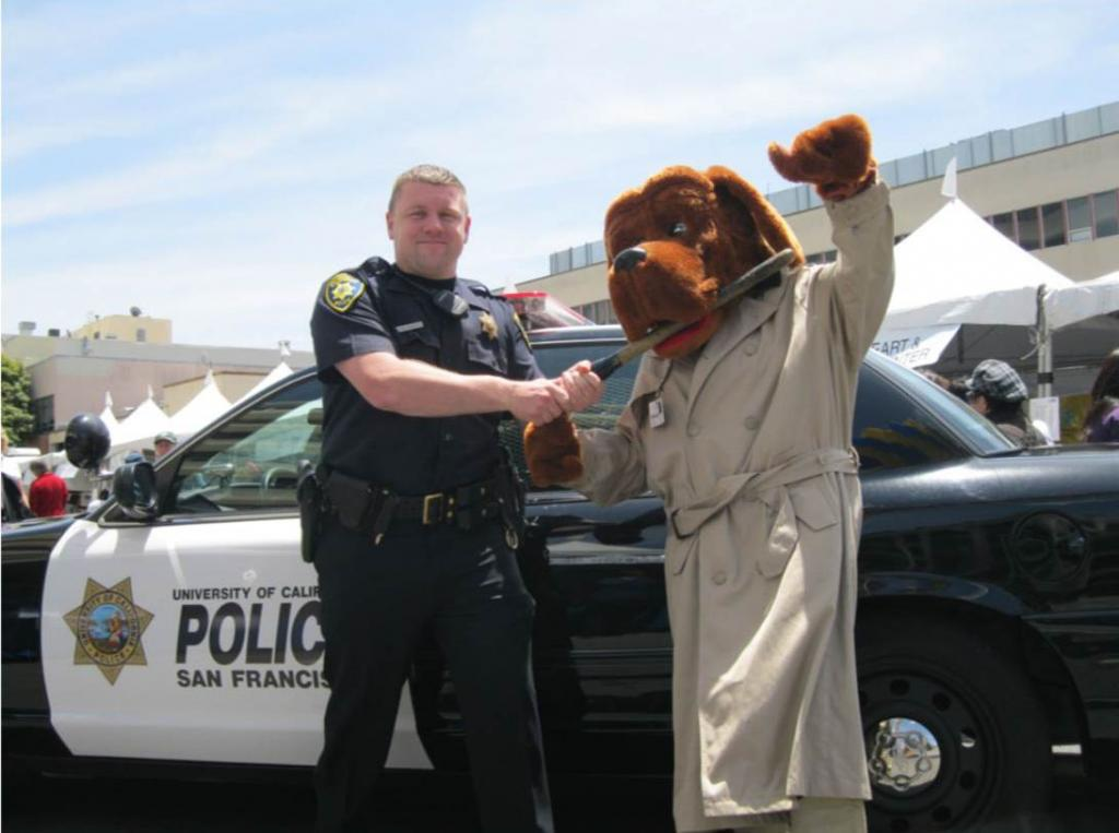 UCSF police officer and McGruff the crime dog